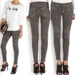 Hudson Jeans Gray and Gold Shelby Moto Pants